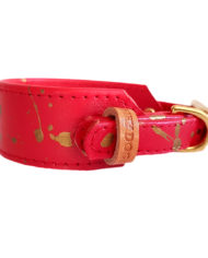 Red with Gold greyhound collar_4